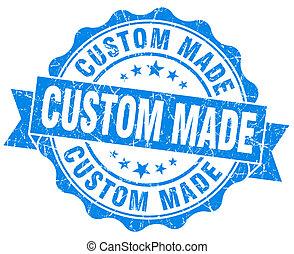 azul, hecho, vendimia, aislado, costumbre, sello