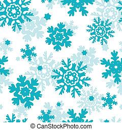 azul, helada, copos de nieve, seamless, patrón, plano de...