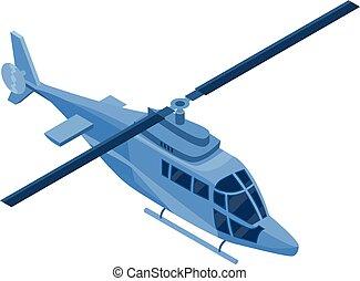 azul, helicóptero, ícone, isometric, estilo