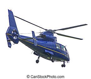 azul, helicóptero, aislado