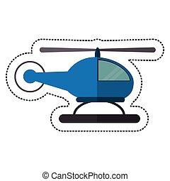 azul, helicóptero, sombra, mosca, transporte