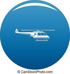 azul, helicóptero, vetorial, ícone