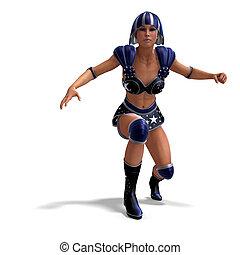 azul, herói, equipamento, fêmea preta, super
