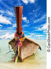 azul, hermoso, nubes, barco, cielo, contra, tradicional,...