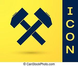 azul, herramienta, aislado, amarillo, dos, fondo., vector, cruzado, ilustración, martillos, repair., icono