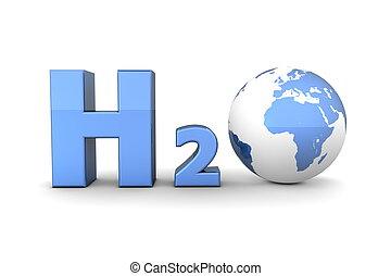 azul, hidrógeno, global, -, óxido, h2o, brillante