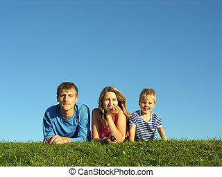 azul, hierba, cielo, familia , debajo