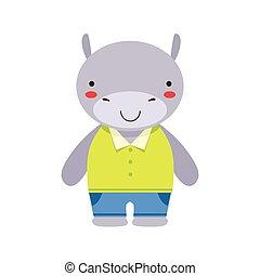 azul, hipopótamo, poco, juguete, lindo, vestido, cima, niño, amarillo, animal, bebé, sonriente, pantalones