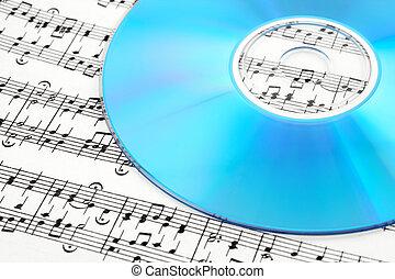 azul, hoja de música, cd