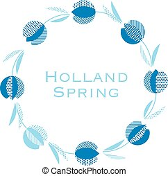 azul, holanda, estilo, tulipán, flor, pattern., moderno,...