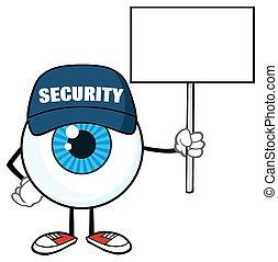 azul, holdinga, globo ocular, muestra en blanco
