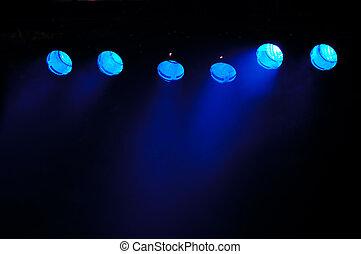 azul, holofotes