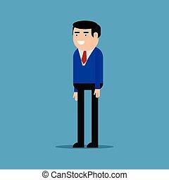 azul, hombre de negocios, camisa, feliz