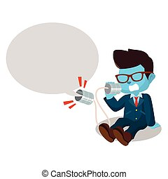 azul, hombre de negocios, gritos, en, lata, teléfono