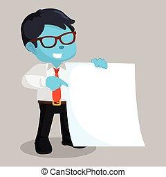 azul, hombre de negocios, papel, tenencia, blanco
