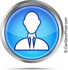 azul, homem negócios, ícone