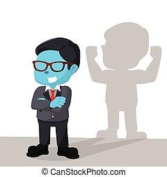 azul, homem negócios, sombra, forte, ter