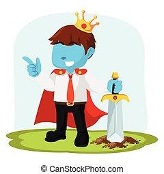 azul, homem negócios, ter, real, espada