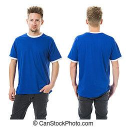 azul, homem, posar, camisa, em branco