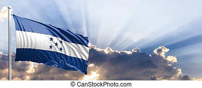 azul, honduras, sky., ilustración, bandera, 3d