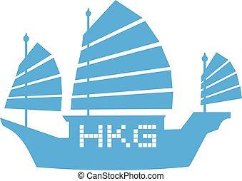 azul, hong kong, icono