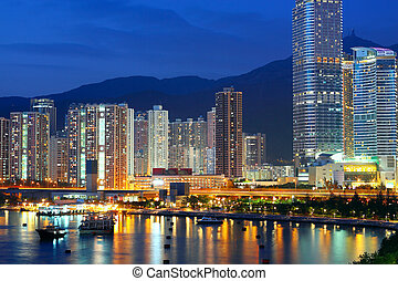 azul, hongkong, crepúsculo, hora, downtown.