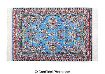 azul, horizontalmente, retangular, mentiras, fundo, branca, tapete