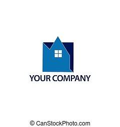 azul, house., casa, resumen, -, ilustración, vector, logotipo