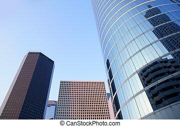 azul, houston, cidade edifícios, arranha-céu, texas