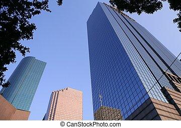 azul, houston, ciudad de edificios, rascacielos, tejas