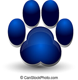 azul, huella, perro, logotipo