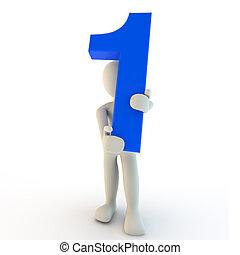 azul, human, personagem, numere um, segurando, 3d