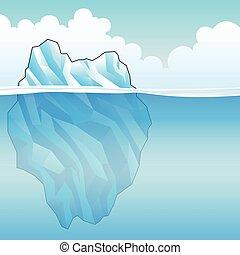 azul, iceberg, vector, ilustración
