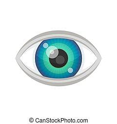 azul, icon., vetorial, olho