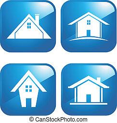 azul, icono, casas