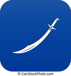 azul, icono, cimitarra, espada, digital
