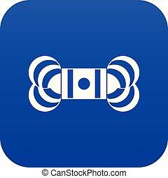 azul, icono, madeja, hilo, digital