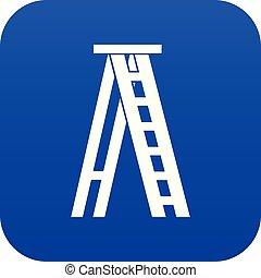 azul, icono, stepladder, digital