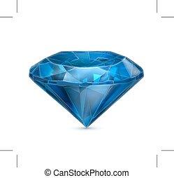 azul, icono, zafiro