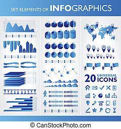 azul, iconos, set., infographics., vector, universal, ...