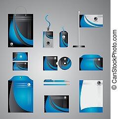 azul, identidade incorporada, modelo