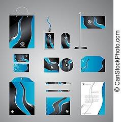 azul, identidade, incorporado, modelo