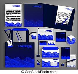 azul, identity., modernos, editable, escuro, incorporado, template.