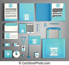 azul, identity., modernos, editable, luminoso, incorporado, template.