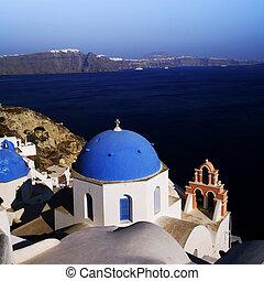 azul, iglesia, santorini