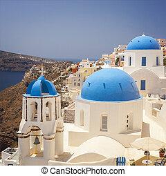 azul, iglesias, abovedado, santorini