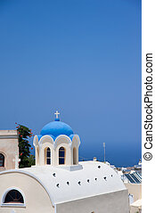 azul, iglesias, santorini, cúpula