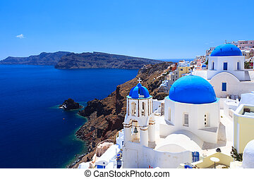 azul, igrejas, santorini, cúpula, oia