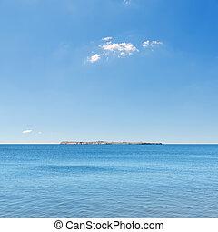 azul, ilha, mar, céu, Horizonte