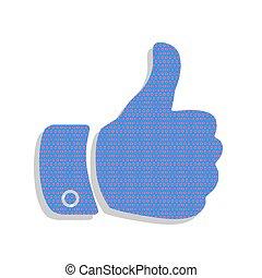 azul, illustration., ciclamino, letrero de gas de neón, pol, vector., mano, icono